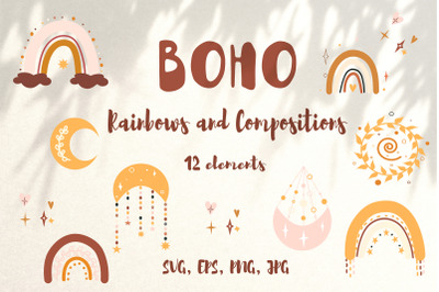 Boho collection. Vector rainbows and compositions