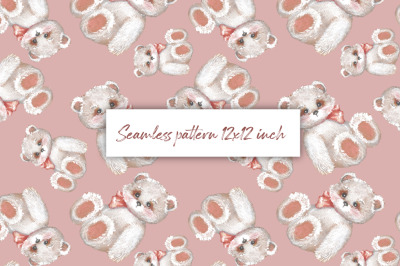 Digital paper with Teddy 1. Seamless pattern design