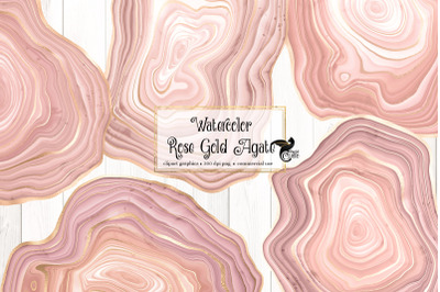 Watercolor Rose Gold Agate Clipart