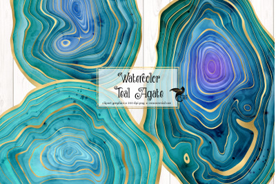 Watercolor Teal Agate Clipart