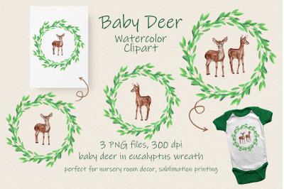 Baby Deer in Eucalyptus Wreath Watercolor Clipart