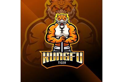 Kungfu tiger esport mascot logo