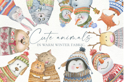 Cute animals in warm winter fabric