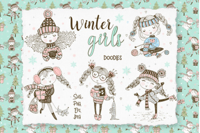 Cute girls winter digital clipart in Doodle style.