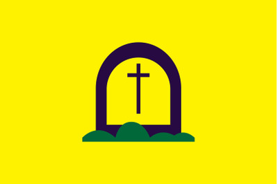 Halloween Icon with Yellow Thombstone