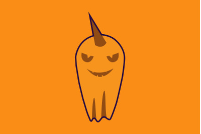 Halloween Icon with Yellow Ghost