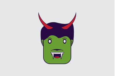 Halloween Icon with Green Monster