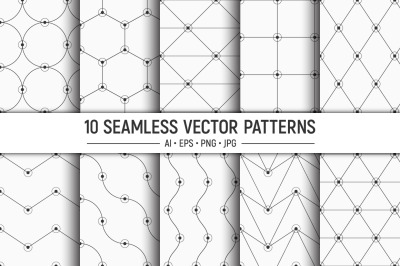 10 seamless linear geometric vector patterns