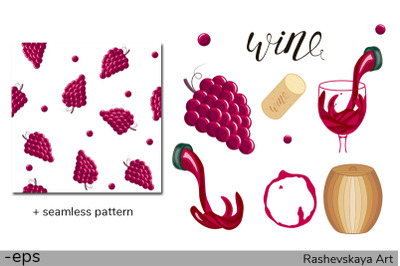 Vector wine set