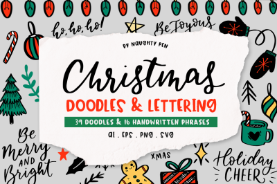 Christmas Doodles And Lettering + Bonus Card!