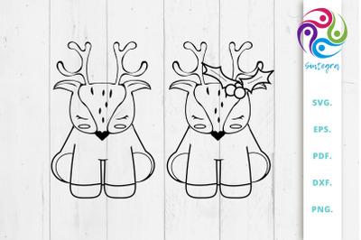 Cute Christmas Deer Mini Bundle Svg File
