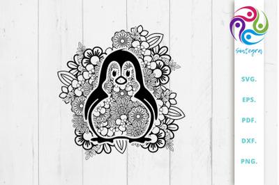 Floral Mandala Penguin Svg File