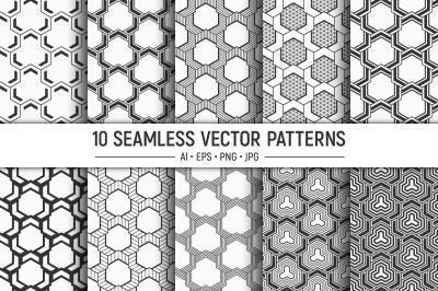 10 seamless geometric vector patterns