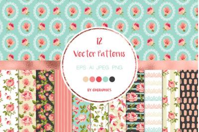 12 Elegant Pink Flowers Vector Seamless Patterns