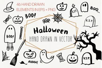 Cute Halloween PNG doodle clipart. Spooky Halloween bundle