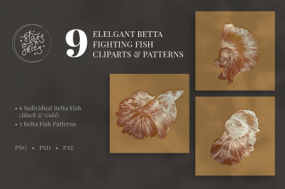 Elegant Betta Fighting Fish Clipart and Patterns