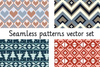 Winter seamless patterns vector set