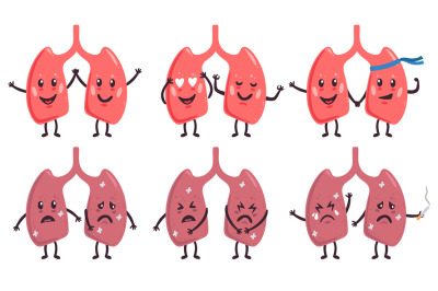 Cute lungs characters. Healthy and unhealthy medicine human organs cha