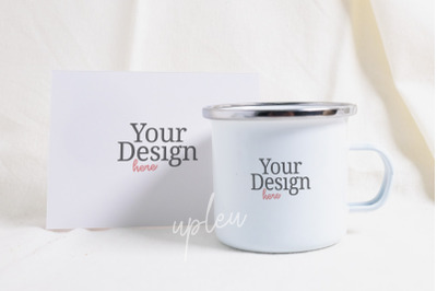 Camping Mug With Blank Card Mock Up | Compatible W/ Affinity Designer