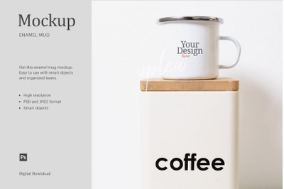 Enamel Mug With Coffee Canister Mock Up | Affinity Designer