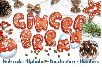 Gingerbread Alphabet Watercolor Lettering Clipart