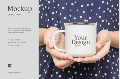 Woman Holding Enamel Mug Mock Up | Compatible With Affinity Designer