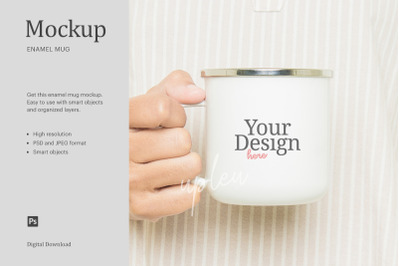 Enamel Coffee Mug Mock Up | Compatible With Affinity Designer