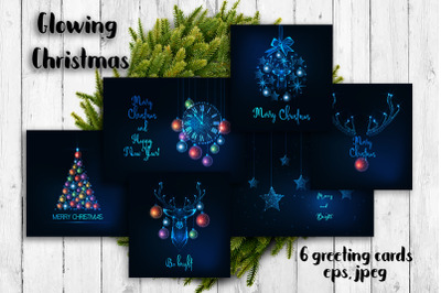 Glowing Christmas greeting cards