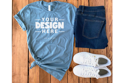 Steel Blue Bella Canvas 3001 Mockup Outfit