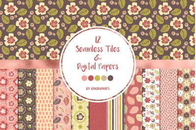 12 Flowers, Leaves and Spots Seamless tiles and Digital papers