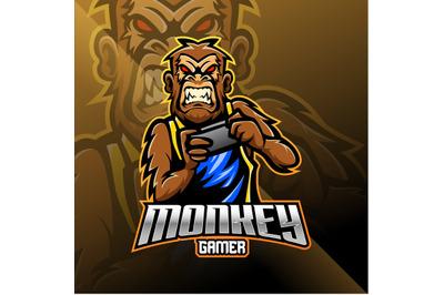 Monkey gamer mascot logo design