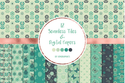 12 Flowers, Butterflies and Doodles, Seamless Tiles and Digital Papers