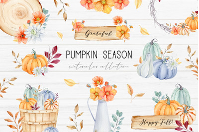 Autumn Watercolor Clipart, Fall Harvest