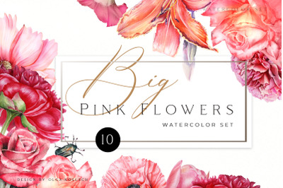 Watercolor floral clipart Roses clipart, peony clipart Pink floral