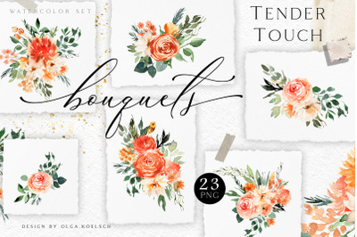 Fall watercolor floral clipart. Boho roses clipart. Peach floral png