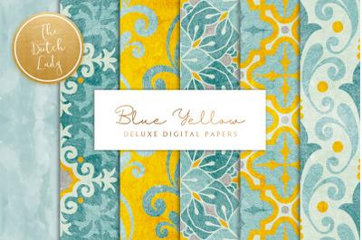 Blue Yellow Ornamental Patterns