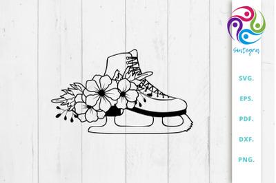 Floral Skating Boot Svg File