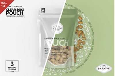 Clear 500g Pouch Packaging Mockup