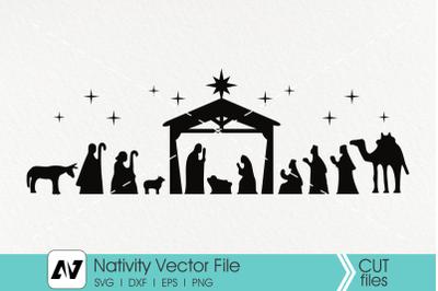 Nativity Svg, Christmas Svg, Jesus Birth Svg, Holy Night Svg