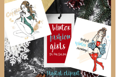 Winter clipart fashion girls knitted sweater digital clipart