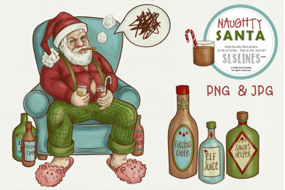 Naughty Santa Chrismtas Illustrations