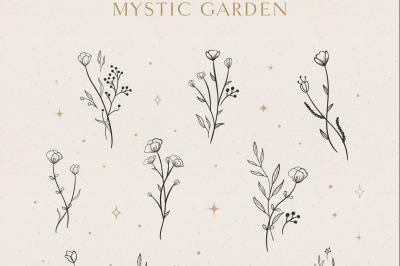Floral Logo Elements Vector illustrations. Tattoo logo. Sacred, Magic.