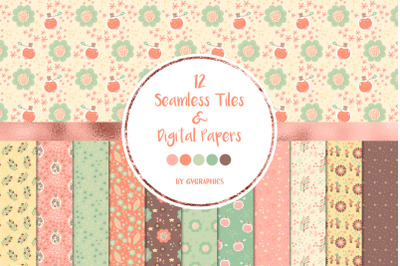 12 Magic Potions and Flowers Seamless Patterns and Digital Papers