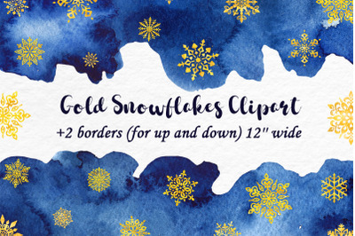 Gold Glitter Snowflakes Clipart