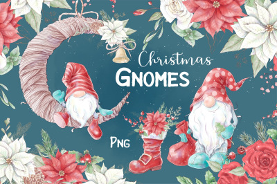Christmas gnomes and decorative elements, digital watercolor clipart for Christmas and New Year. PNG