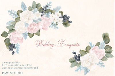 Wedding Floral Frame Bouquet White Pink Peonies Roses