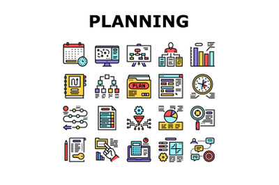 Planning Work Process Collection Icons Set Vector