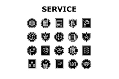 Public Service Signs Collection Icons Set Vector