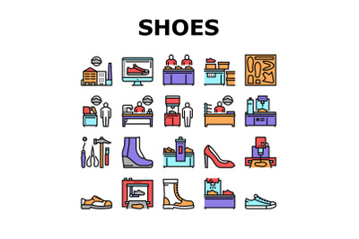 Shoes Repair Service Collection Icons Set Vector