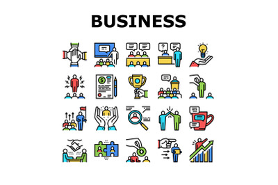 Business Situations Collection Icons Set Color Vector